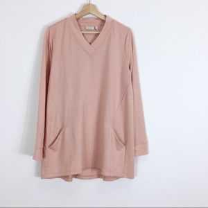 Logo Lori Goldstein French Terry Tunic Pink Pocket